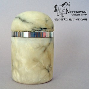 Alabaster Jar with Sterling Bezel