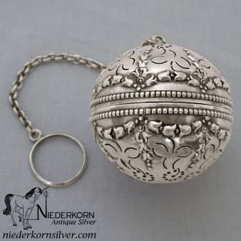 Sterling Silver Floral Pattern Tea Ball by Gorham Mfg Co.