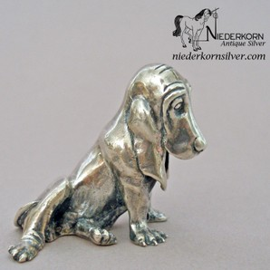 Sterling Silver Basset Hound Miniature by Kirk and Sons