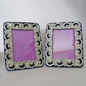 Pair of Velvet Backed Sterling Silver Picture Frames by M G Cooler