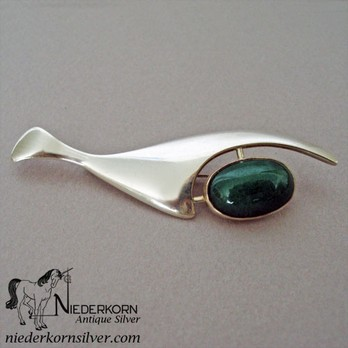 Sterling Silver Modernist Designed Whale Pin with a Green Stone