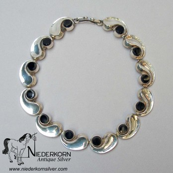 Antonio Pineda Necklace Sterling Silver and Onyx