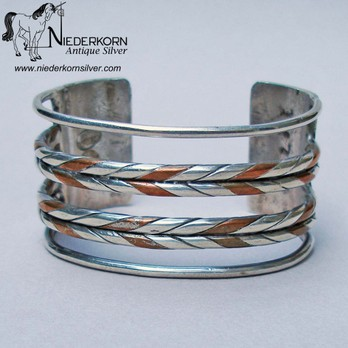 William Spratling Silver and Copper Cuff Bracelet